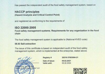 Certificate HACCP 05.02.2021